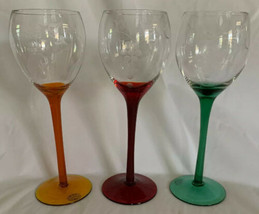 "Set Of 3 Home Essentials Colored Stem Balloon Wine Glasses Etched Grapes 8 1/2"" - $24.74"