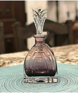 Vintage Deco Amethyst Glass Perfume Bottle with Ornate Stopper - $32.72