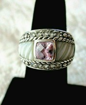 Judith Ripka SS Carved Mother of Pearl Pink Tourmaline Diamonique Ring S... - $99.95