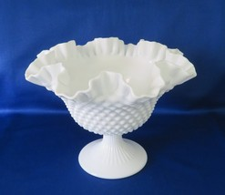 Fenton Milk Glass Hobnail Footed Bowl, Comport, No. 3728, circa1956-82 - $16.00