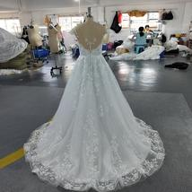 Vogue Fashion Pearl Appliques Lace Floral O-neck Cap Sleeve Backless Bridal Gown image 5
