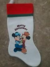 Vintage Walt Disney Company Stocking Mickey and Minnie Mouse Felt Merry Xmas - $14.80