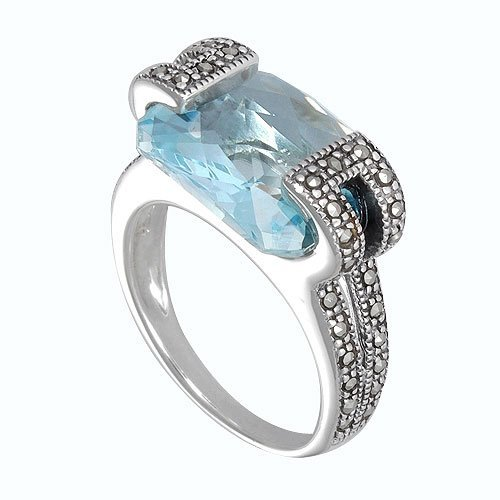 Aura 925 Sterling Silver Marcasite Ring with Top Sky Blue Gemstone (MR00147TSB)