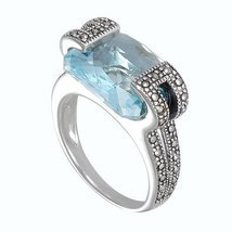 Aura 925 Sterling Silver Marcasite Ring with Top Sky Blue Gemstone (MR00... - £90.91 GBP