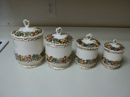 Lefton Della Robbia Canister Set ~ 4 Canisters W Lids Fruit Pattern - $91.07
