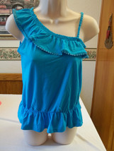 Arizona Girls One Shoulder Tank Top Size Large 14 Blue New W Tags - $12.86