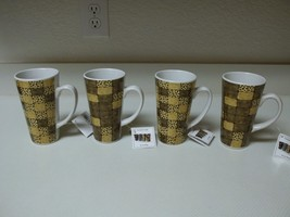 Tara Reed Blue Harbor Stoneware ~ Set of 4 Concrete Jungle Mugs Browns - $39.59