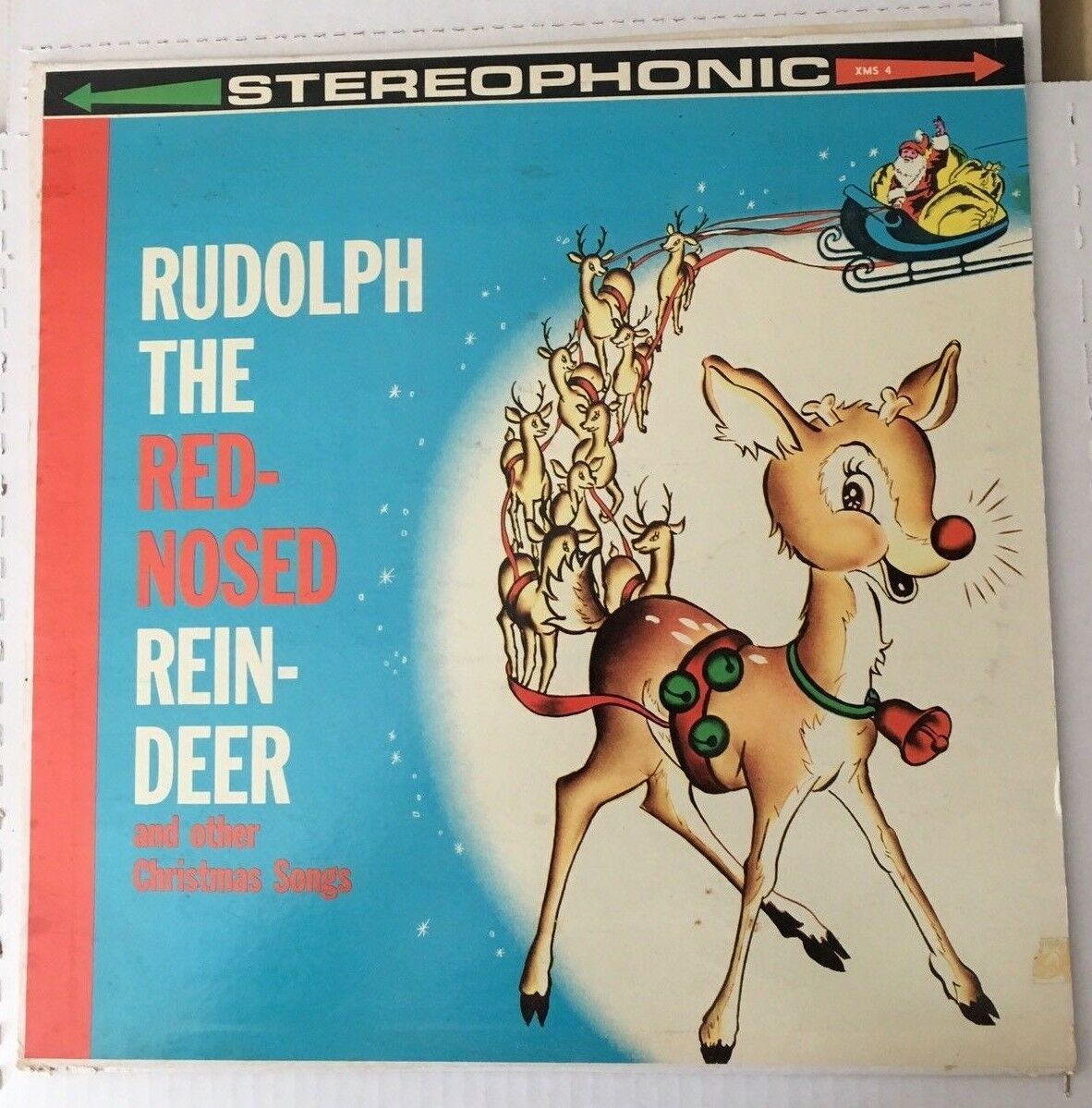 "Rudolph The Red Nose Reindeer 12"" Vinyl Record Album XMS-4 VG+ CHRISTMAS SONGS"