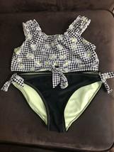 Girls Floral Checkered 2 pcs. swimsuit size 10 - 12 Wonder Nation, Black  - $13.29