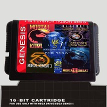 5 In 1 Game cartridge Mortal Kombat 16 bit sega Megadrive Genesis Game p... - $10.99