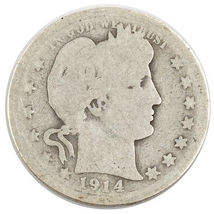 1914-S Barber Silver Quarter 25c (AG) About Good Condition image 3