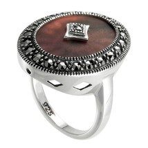 Sterling Silver Purple Sunray Crystal and Marcasite Ring (MR00963PU-SCR-17) - £27.26 GBP