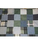 Denim reversible quilt jean corduroy cotton 64 x 48 handcrafted patchwor... - $96.74