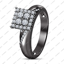 Jewelry Engagement Wedding Ring In 14K Black Gold Plated 925 Silver Sim Diamond - $79.50