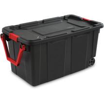 New Sterilite 40 Gallon Wheeled Industrial Tote Black Ergonomic Handle - $72.36 CAD
