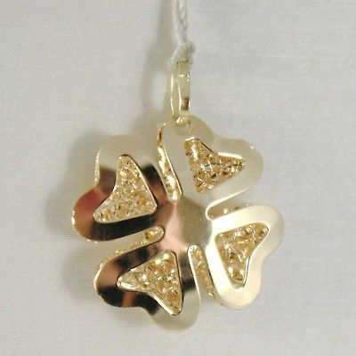YELLOW GOLD PENDANT 750 18K, FOUR-LEAF CLOVER, DOUBLE LAYER 2 CM, MADE IN ITALY