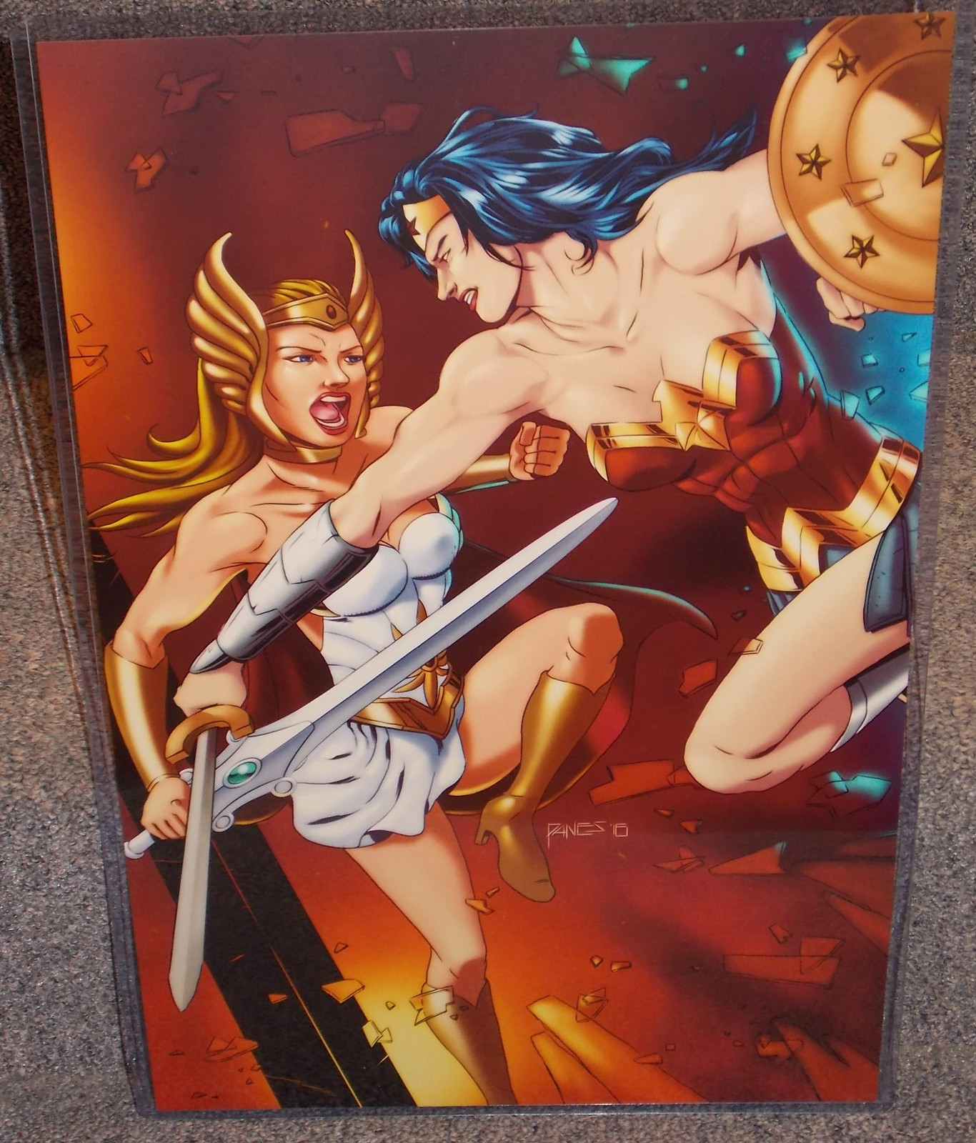 Primary image for She Ra vs Wonder Woman Glossy print 11 x 17 In Hard Plastic Sleeve