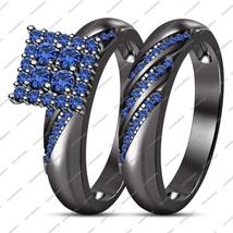 2 Pcs 14K Black Gold FN 925 Silver Round Cut Blue Sapphire Engagement Bridal Set - $99.99