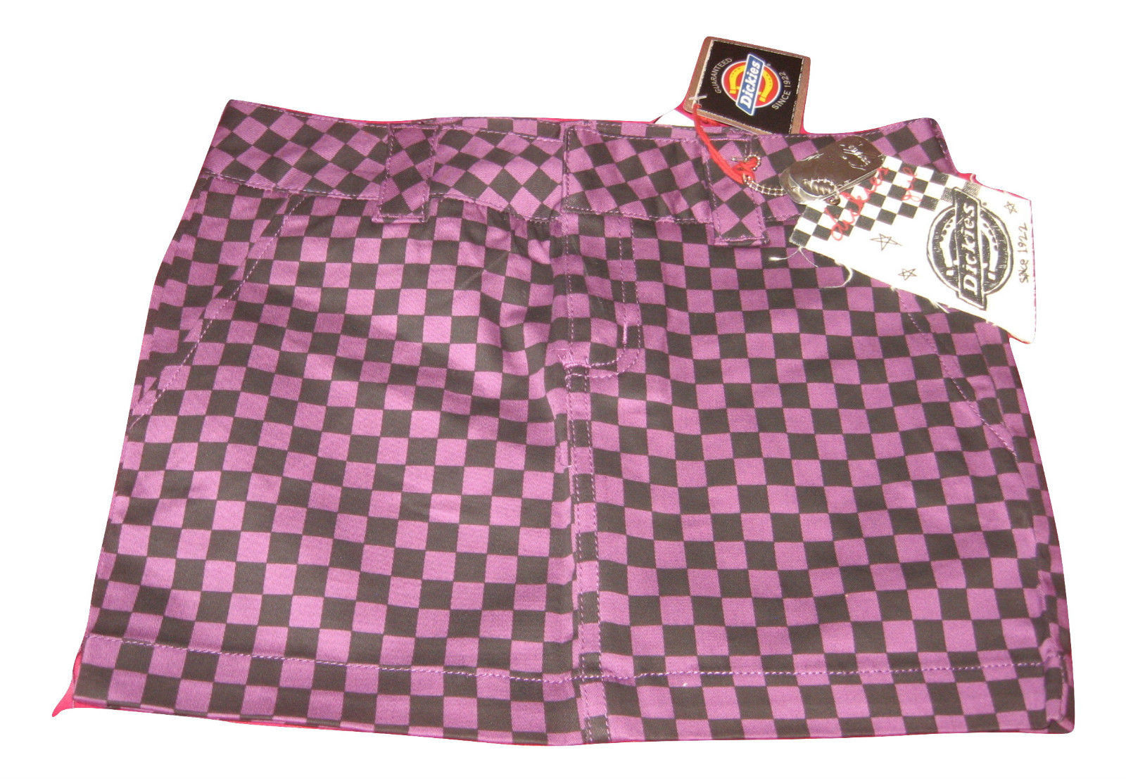 Primary image for NWT Dickie's Checkered Denim Mini Skirt ~ Super Cute ~ Checked Purple & Black