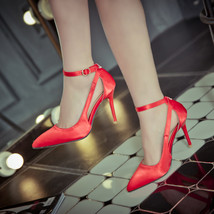 pp110 quality satin pointed pumps, high heels, extra size, size 31-43, red - $69.99