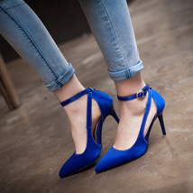 pp110 quality satin pointed pumps, high heels, extra size, size 31-43, blue - $58.80