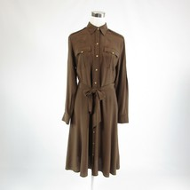 Cool brown 100% silk LAUREN RALPH LAUREN long sleeve shirt dress M - $49.99