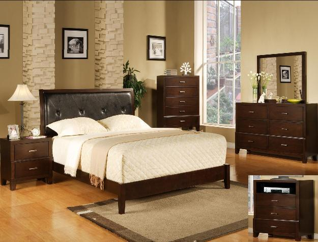Crown Mark RB8100 Serena Queen Bedroom Set 2 Night Stands Contemporary Modern