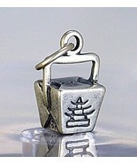 LOOK STERLING SILVER CHINESE FOOD TAKE-OUT BUFFET BOX CHARM - £8.36 GBP