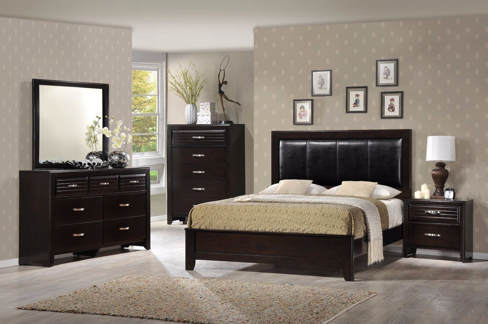 Crown Mark RB7400 Jocelyn King Size Bedroom Set 5pc. Transitional Dark Espresso