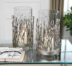 Pair Modern Forged Aged Silver Metal Candle Holders Glass Cups Table Top - $162.80