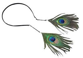 2 Pcs Hair Hoop Peacock Feather Earrings Hairpin Bohemia Headdress Earrings
