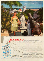 Vtg 1955 Nassau Bahama vacation tourist travel girl advertisement print ... - $11.83