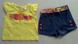 Girl's Sz 12 M Months 2 Piece Outfit Fruit Embroidered Top & Embellished Short - $14.00