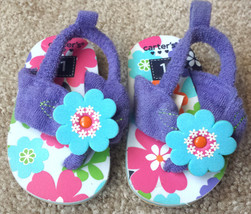 Baby Girl's Size 1 Carter's Purple Terry Floral Designed Flip Flops Shoes Straps - $10.00