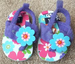 Baby Girl's Size 1 Carter's Purple Terry Floral Designed Flip Flops Shoe... - $10.00