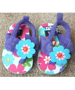 Baby Girl's Size 1 Carter's Purple Terry Floral Designed Flip Flops Shoe... - $10.00