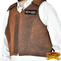 Large Equestrian Horse Riding Vest Safety Protective Hilason Leather U-39-L - $148.95