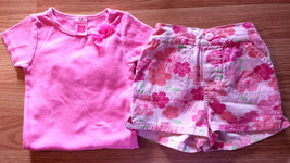 Girl's Size 12 M Months Two Pc Neon Pink Carter's Bow Top & Circo Floral... - $14.50
