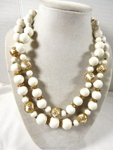 "Vtg Coro Signed White Beads Two Strand Gold Tone Necklace 17"" - $29.45"