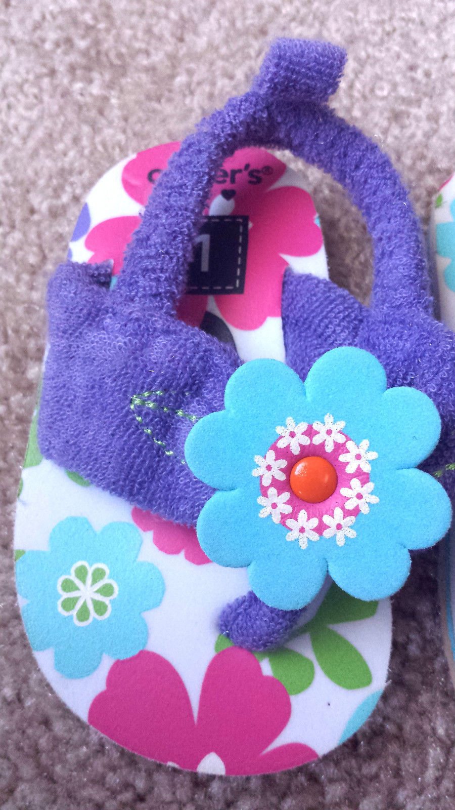 Baby Girl's Size 1 Carter's Purple Terry Floral Designed Flip Flops Shoes Straps