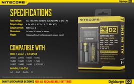 Nitecore Digicharger D2 2015 Charger for Li-ion IMR LiFePO4 Ni-MH Ni-Cd - $19.90