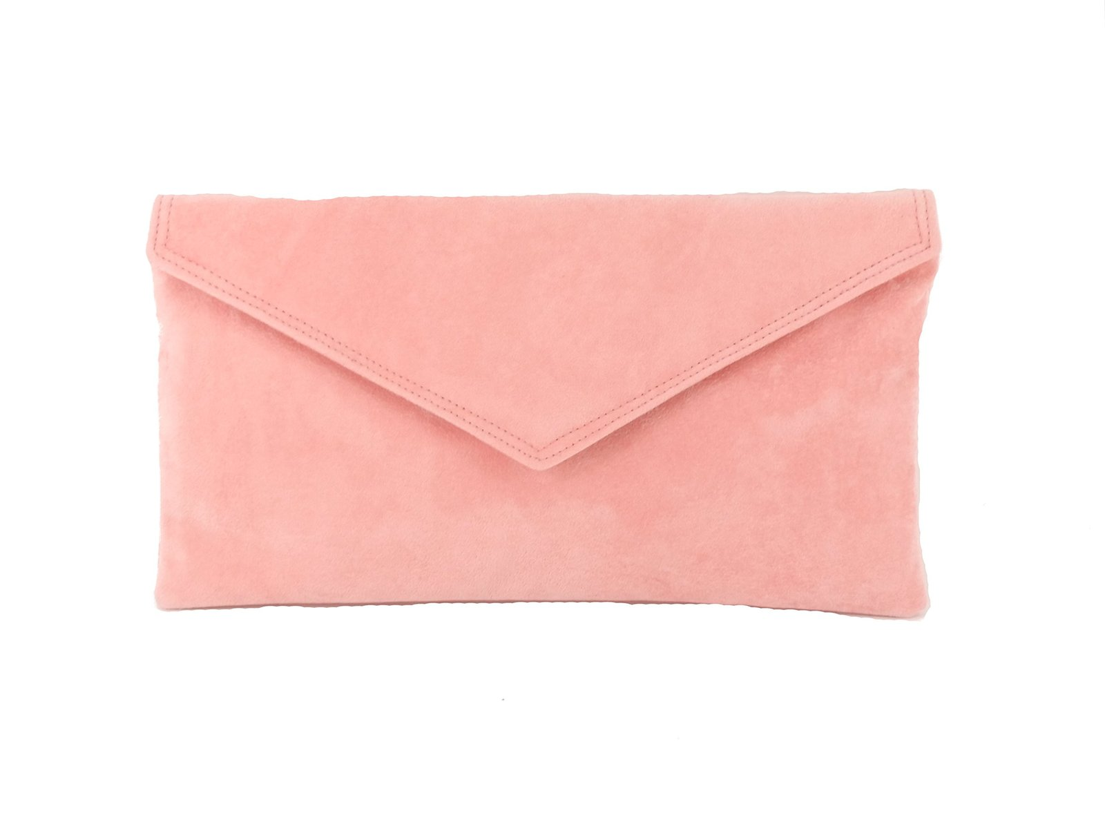 Loni Womens Neat Envelope Faux Suede Clutch Bag/Shoulder Bag In Salmon Pink