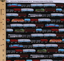 Cotton Trains Row Black Passenger Freight Fabric by the Yard D467.10 - $12.37