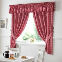 "Red White Gingham Pelmet To Match Kitchen Curtains L136"" X W10"" - $14.20"