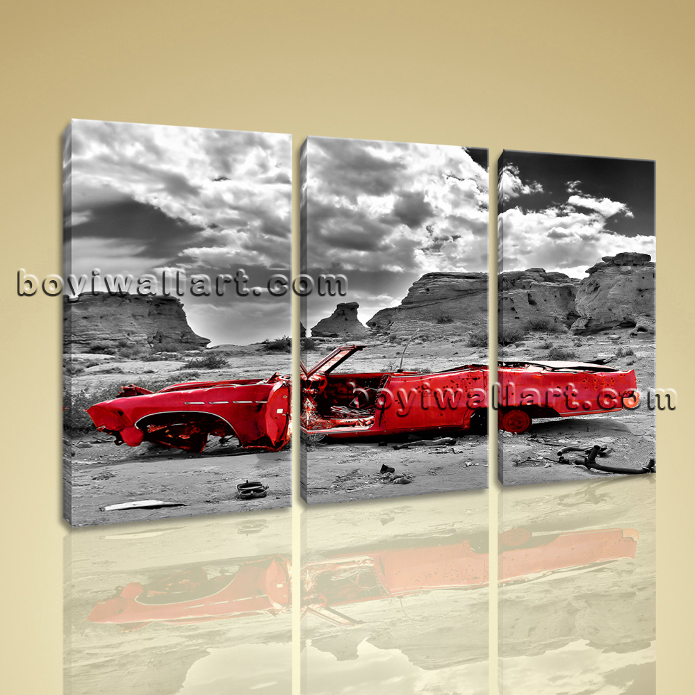 Vintage Auto Wall Decor : Large framed vintage car contemporary wall art home decor