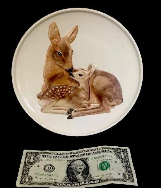 1978 Goebel W Germany Porcelain Mothers Series Doe & Fawn Plate Ready To Hang