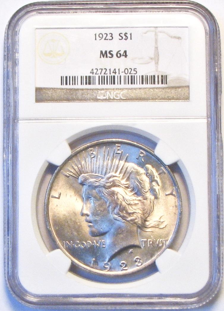 1923 NGC Peace Silver Dollar. MS64. MG20. - $64.00