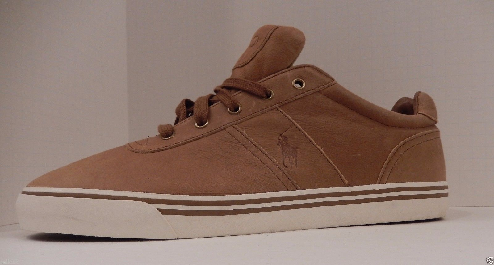 POLO RALPH LAUREN SIZE 15 D LIGHT BROWN TAN LEATHER FASHION SNEAKER SHOE HANFORD