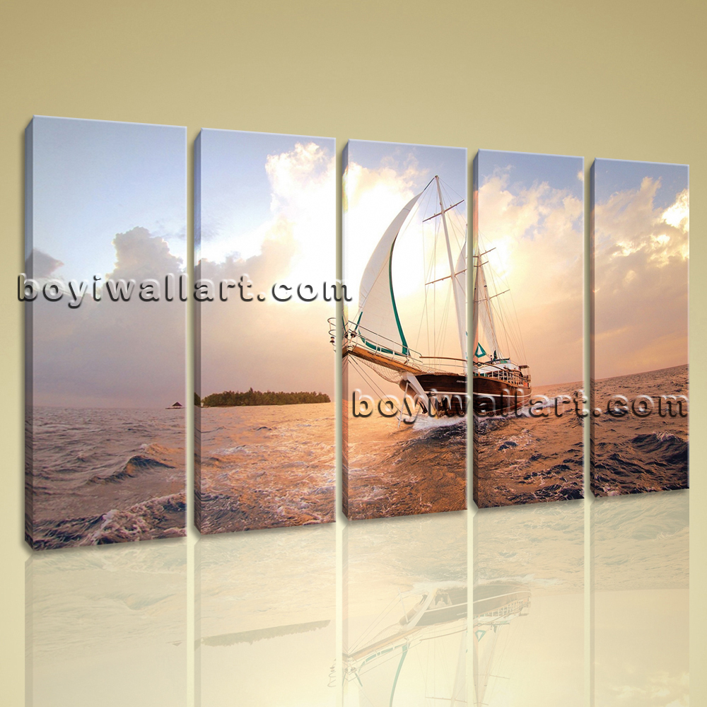 Large Canvas Prints Wall Art 4 Panels Sailing Boat Sunset Seascape Dsn04965232 Paintings