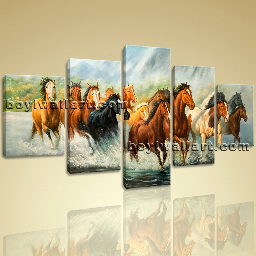 Large framed 5 panels giclee print group horse canvas for Horse decorations for home